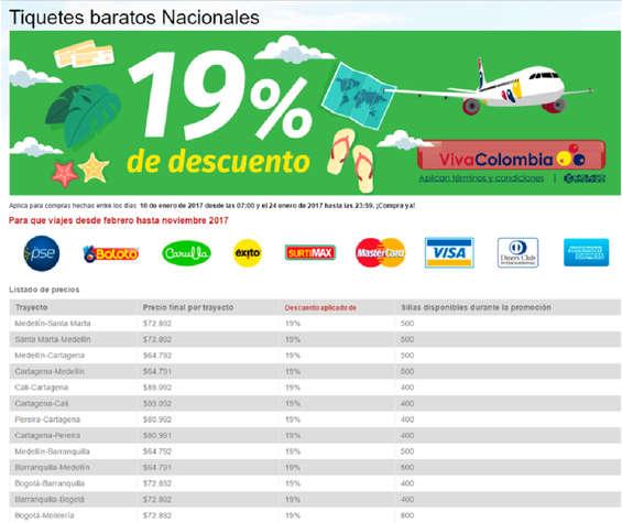 Ofertas de Viva Colombia, Tiquetes baratos nacionales - 19% de descuento