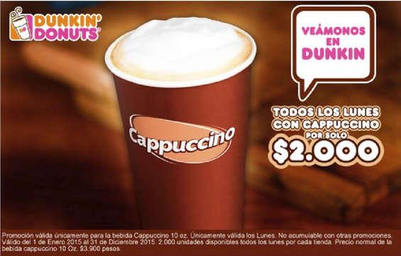 Ofertas de Dunkin' Donuts, Todos los lunes con Capuccino