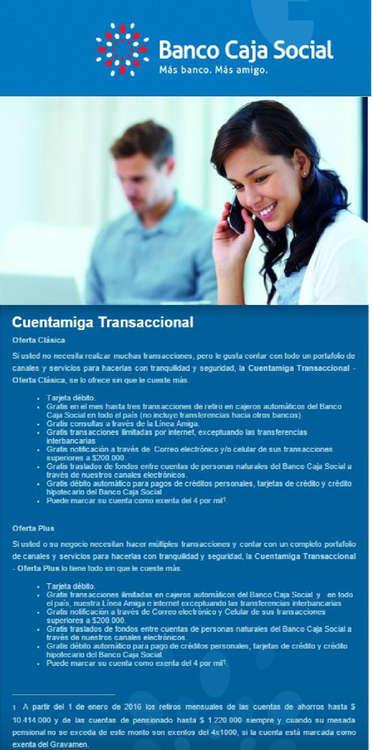 Ofertas de Banco Caja Social, Cuentas Bancarias