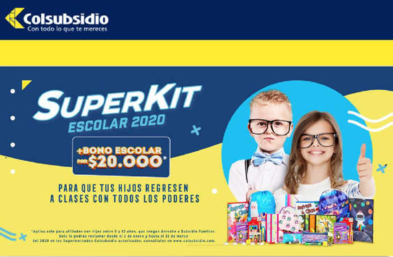 Ofertas de Supermercados Colsubsidio, Super kit escolar