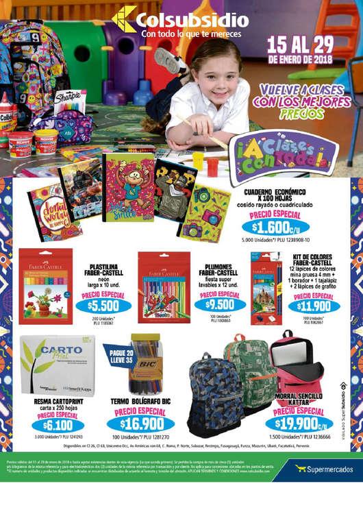 Ofertas de Supermercados Colsubsidio, Vuelve a clases