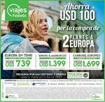 Ofertas de Viajes Falabella, Ahorra USD 100 por la compra de 2 planes a Europa