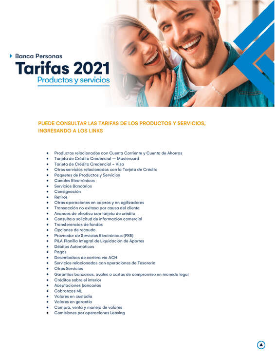 Ofertas de Banco de Occidente, Tarifas 2021