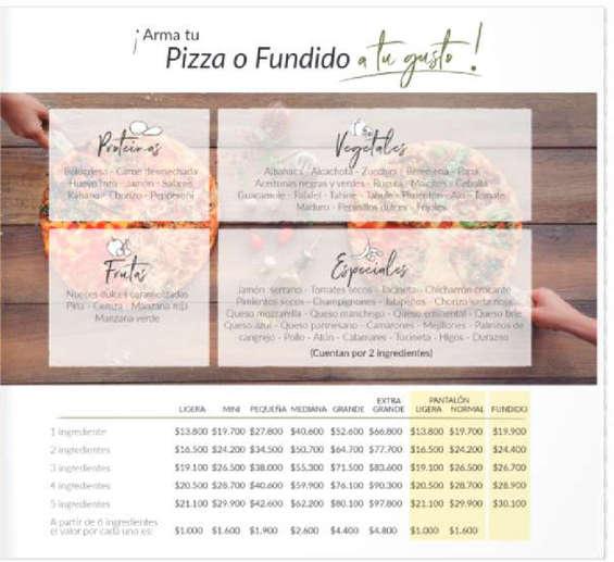 Ofertas de Karen's Pizza, Menú